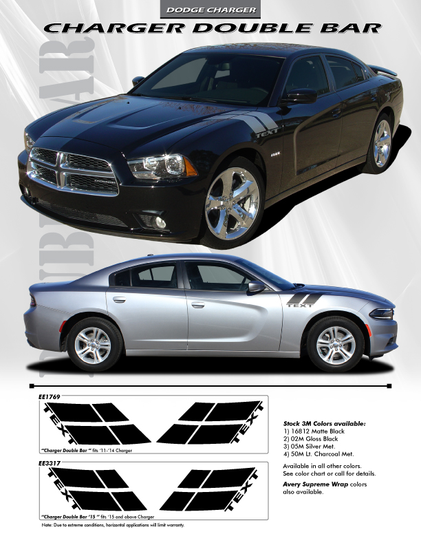 FOR DODGE CHARGER EE-3317 DOUBLE BAR Graphics Kit Decals Trim Emblems 2015-2016 | eBay